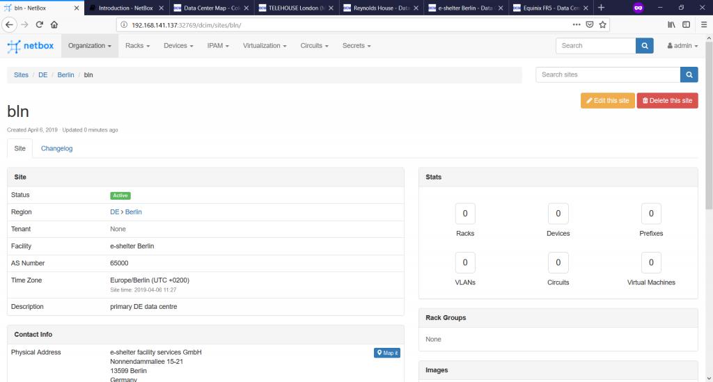 NetBox. Site details.
