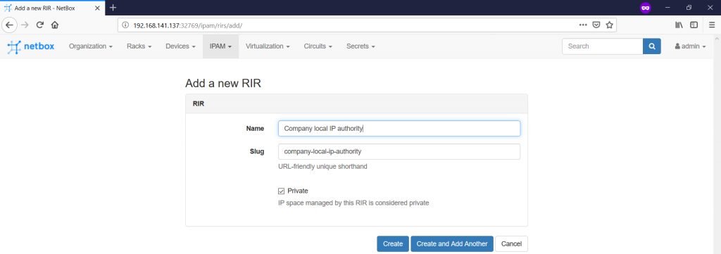 NetBox. Adding RIR.