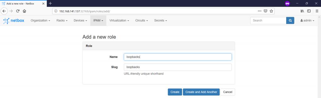 NetBox. Adding prefix roles.