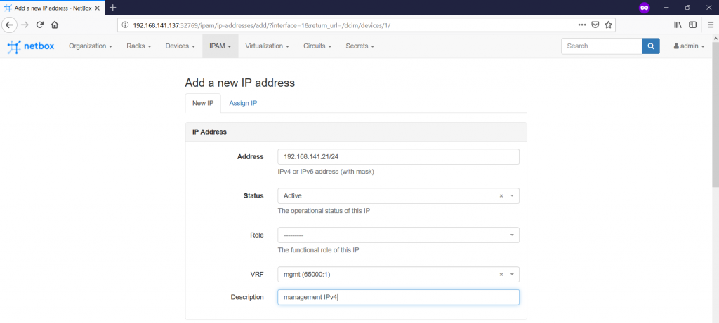 NetBox. Details of IP creation - 1.