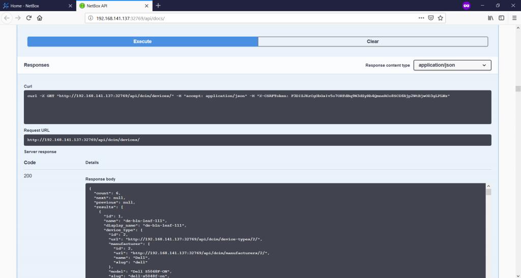 NetBox. API GET response.